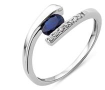 Damen-Ring 375 Weißgold mit Brillanten und Saphir MH9003RO