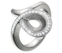Damen-Ring 925 Sterling Silber rhodiniert Kristall Zirkonia Larmes precieuses weiß