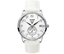 Damen-Armbanduhr Art Deco Flatline Lady Analog Quarz Leder 63371
