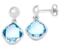 Damen-Ohrringe 9 Karat (375) weißgold Topas Blau facettiert