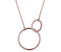 Damen Schmuck Halskette Kette mit Anhänger Geo Kreise Trend Blogger Silber 925 Rosé Vergoldet Länge 45 cm