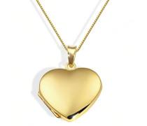 Damen-Halskette 9 Karat 375 Gelbgold Medallion Herz 45 cm  Herzanhänger