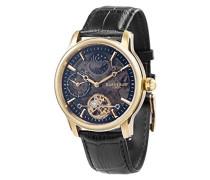 Longitude Shadow ES-8063-05 Herren-Armbanduhr mit Automatikgetriebe, schwarzes Zifferblatt mit Skelett-Anzeige, schwarzes Lederarmband
