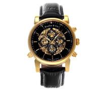 Automatik Armbanduhr von  für Männer mit einem echten Diamanten mit Schwarzem Zifferblatt Analoger Anzeige und Schwarzem Armband aus Leder SK14H056