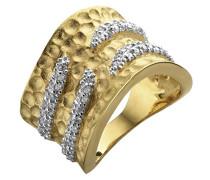 ORPHELIA Damen-Ring Ring 925 Silber teilvergoldet Zirkonia Rundschliff weiß 56 (17.8) - R-4205-GOLD/56