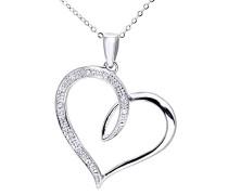 Damen-Halskette 375 Weißgold 9 karat Diamant 0,06 ct weiß 46 cm Rundschliff