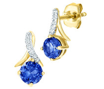 -  9 k (375)  Gelbgold Rundschliff   blau Tanzanite Diamant