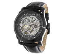 Herren Protagonist Skeleton Collection Automatik Armbanduhr mit skelettieretem Zifferblatt und offener Unruh - Analoge Anzeige - Echtlederarmband Gehäuse aus Edelstahl Größe XL - CO55H90126