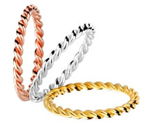Damen-Stapelring Wickelring Tricolor 925 Silber