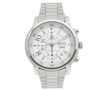 –sndw87–Armbanduhr–Quarz Chronograph–Weißes Ziffernblatt–Armband Stahl Grau