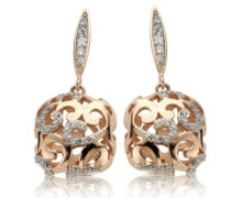 Damen-Ohrringe Skeleton 925 Sterling  mit Zirkonia EAR-2121,Rosa-Gold
