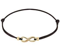 Damen Schmuck Echtschmuck Armband Strangarmband Infinity Textil-Armband Blogger Sterling Silber 925 Vergoldet Länge 17 cm