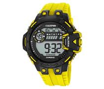 Herren Digitale Armbanduhr mit LCD Dial Digital Display und Gelb Kunststoff Gurt k5696/1