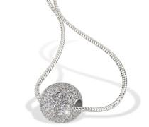 Damen-Halskette Pavee Kugel 925 Sterlingsilber 92 Zirkonia Kristalle Schmuck