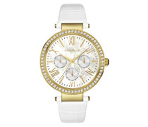 Caravelle New York Damen-Armbanduhr CRYSTAL Analog Quarz Leder 44N104