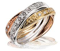 Damen-Ring 585 Tricolor 3 Ringe 20 Diamanten 0,20ct