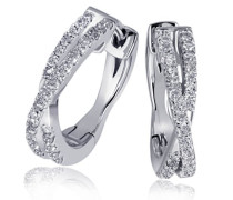 Damen-Creolen Ohrringe Linien 585 Weißgold 60 Diamanten 0,24ct