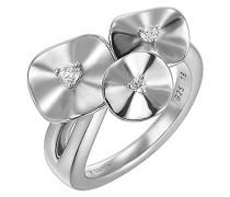 Pierre Cardin Damen-Ring 925 Sterling Silber rhodiniert Glas Zirkonia Lotus weiß Gr.57 (18.1) S.PCRG90370A180