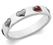 By Joy Damen Ring 925 Sterling Silber Herzen Emaille bordeaux und grau