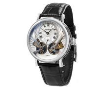 Beaufort Anatolia ES-8059-01 mechanische Herren-Armbanduhr mit Automatikgetriebe, silbernes Zifferblatt mit klassischer Analoganzeige, schwarzes Lederarmband