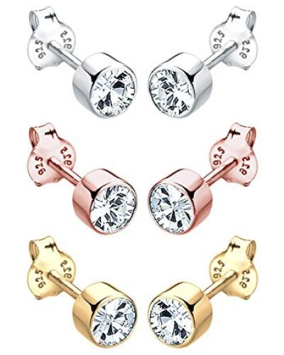 Damen-Ohrstecker Basic Tricolor Ohrstecker 925 Sterling Silber rosé-vergoldet mit Swarovski Kristallen im Brillantschliff weiß   - 0311840314
