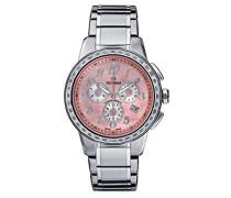 2094.9738Unisex Quarz Swiss Armbanduhr mit rosa Zifferblatt Chronograph-Anzeige und Silber Edelstahl Armband