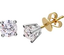 Rund Brilliant 1 kt Diamant G/VS2 Zertifikat 18 kt-Ohrringe