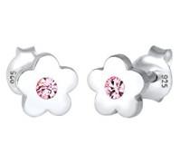 Kinder-Ohrstecker Blume 925 Silber Swarovski Kristalle Brillantschliff - 0303711317