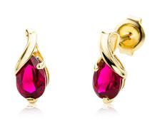 Damen-Ohrstecker 9 Karat / Persönliche Ohrringe aus 375 Gelbgold mit Geburtsstein Rubin / Ohrschmuck 0,1cm x 0,45cm, Gold