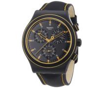 Swatch Herren-Armbanduhr XL New Irony Chrono Noho Time Chronograph Quarz Leder YVB400