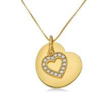 Joy Damen-Halskette mit Herz Anhänger rhodiniert und Zirkonia 45cm JA147P