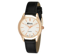 Damen-Armbanduhr  Ladies Deluxe Rose Gold Classic Watch on a Genuine Leather Strap. Analog Leder Schwarz RD007.2GL