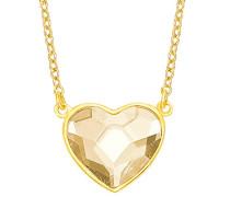 Damen-Kette mit Herz-Anhänger gelbvergoldet verziert mit Swarovski Kristall, 42+3 cm längenverstellbar