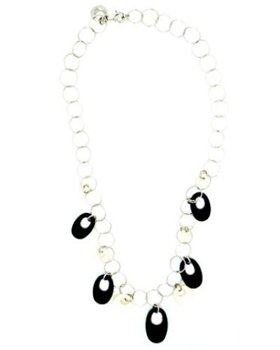 Damen-Halsband 925 Sterling Silber Perlmutt Onyx schwarz MC-1639