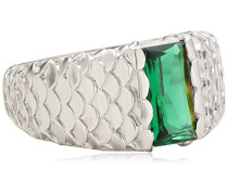 women Damen-Ring 925 Sterling Silber rhodiniert Zirkonia grün