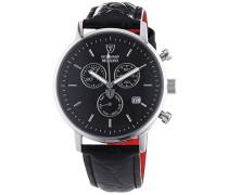 Herren-Armbanduhr Milano mit silbernem Edelstahl-Gehäuse und schwarzem Zifferblatt. Elegante Quarz Herren-Uhr mit schwarzem Leder-Armband