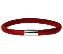 Damen Armband Edelstahl Magentverschluss Leder 20 cm rot 12107-20