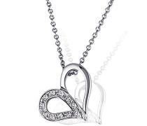 Damen-Halskette Herz 585 Weißgold 11 Diamanten 0,04 ct. Herzanhänger Diamantkette