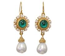 BenAmun Damen Ohrringe 24k Gold Grün mit Perlen
