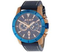 –j6339r-333–Vienna–Armbanduhr–Quarz Chronograph–Zifferblatt Blau Armband Leder braun