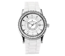 Damen-Armbanduhr Weiß Analog Quarz Premium Keramik Diamanten - STM15Z1