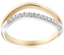 18 Karat (750) Bicolor 56 (17.8)  Damenring, mit 12 (0,06 cts) Diamanten M0872P