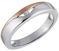Damen-Ring  925 Sterlingsilber rot vergoldet 1 Zirkonia