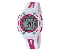 Unisex Armbanduhr Digitaluhr mit LCD Zifferblatt Digital Display und weißem Kunststoff Gurt k5666/3