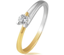 Goldmaid Damen-Ring Solitär Gold 585 Bicolor 1 Brillant 0,20 ct. Gr. 54 So R4679BI54