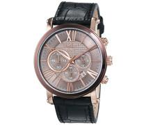 Regent Herren-Armbanduhr XL Analog Quarz Leder 11110699
