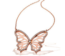 Goldmaid Damen-Collier Schmetterling 925 Sterlingsilber rosévergoldet 95 weiße Zirkonia