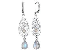 Damen-Ohrhänger Edelstein Ornament Tropfen 925 Silber Mondstein weiß - 0301512315