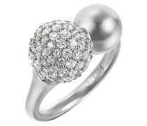 Pierre Cardin Damen-Ring 925 Sterling Silber rhodiniert Glas Zirkonia Réunion weiß Gr.57 (18.1) S.PCRG90381A180