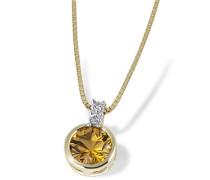 Damen-Halskette 585 Gelbgold 1 Citrin gelb 2 Diamanten Kettenanhänger Schmuck Diamantkette
